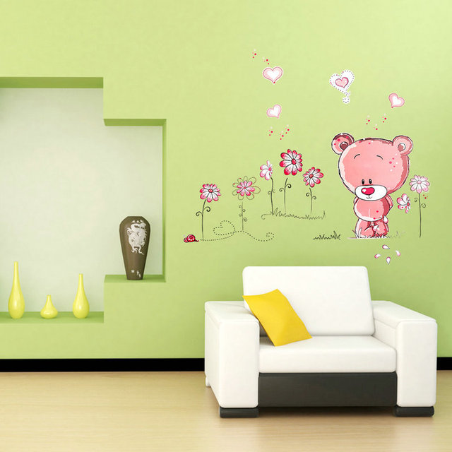 Hot sales Pink Bear Nursery Girl Baby Kids Children Art Decal Wall ...