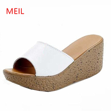Real-leather Woman Wedges Sandals Platform Slippers Ladies High Heels 2019 New Women Summer Shoes Sapato Feminino Pumps Open Toe summer womens shoes platform pointed toe high heels sandals women pumps silver 2017 new fashion comfort wedges woman heels shoes