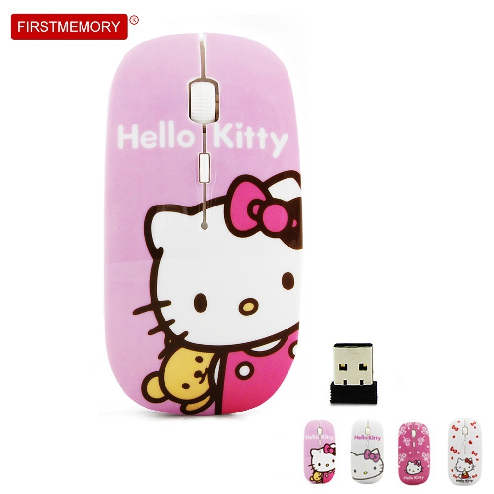 Ultra-thin Wireless Mouse Cute Hello Kitty Slim Mice For Girl Gift 800-1200-1600 DPI Cartoon USB Optical Mause For PC Laptop цена