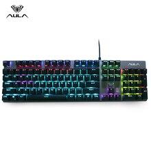 AULA F2068 104 klawisze makro podświetlana klawiatura mechaniczna do gier komputerowych LED podświetlenie klawiatury do gier rosyjski naklejki niebieski przełącznik