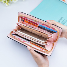 Wholesale Fashion High Quality Women Wallet Large Capacity Clutch Purse Long Pattern Design PU Leather Zipper Phone Card Holder hello kitty large capacity long purse high quality pu lady card wallet gift for girlfriend