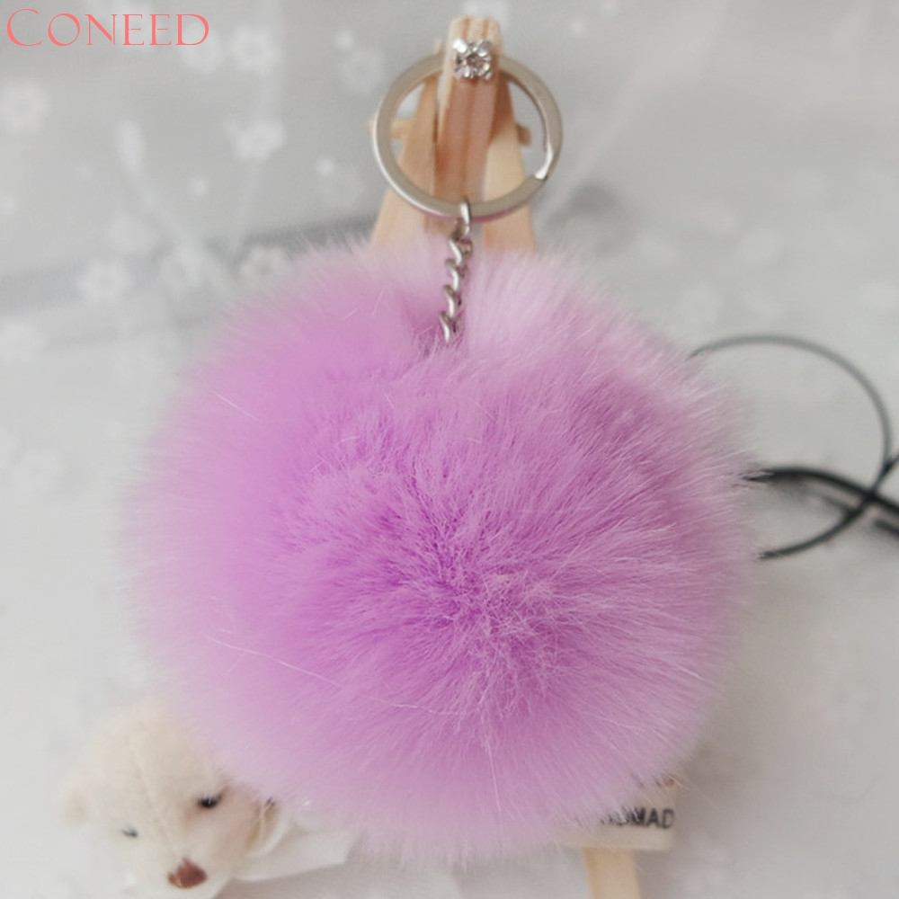 CONEED Drop Ship Fashion Portable Bag Decoration Hnadbags Accessories Rabbit Fur Ball Juy24
