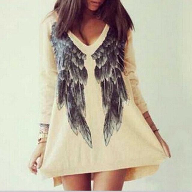 9e7ec1b05c Vestidos 2018 Spring Fashion Women Casual Angel Wings Print Long Sleeve  Dresses Loose Mini Dress Blouse Tops