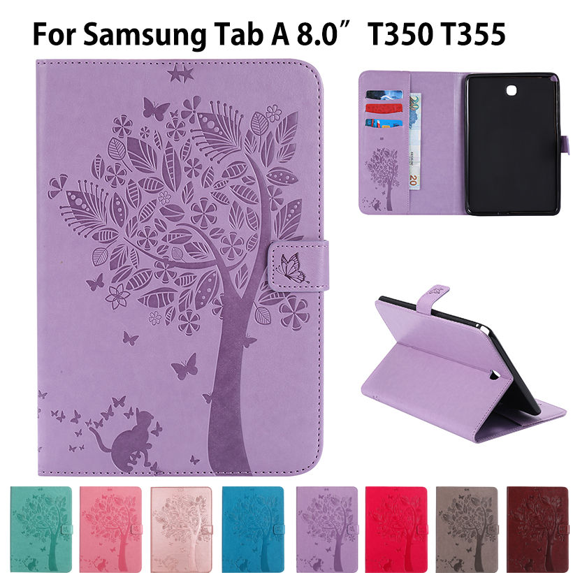 T350 Case For Samsung Galaxy Tab A 8.0 inch SM-T350 T355 SM-T355 Cover Funda Tablet Cat Tree Pattern PU Leather Flip Stand Shell crocodile pattern luxury pu leather case for samsung galaxy tab 4 8 0 t330 flip stand cover for samsung tab 4 8 0 t330 sm t330