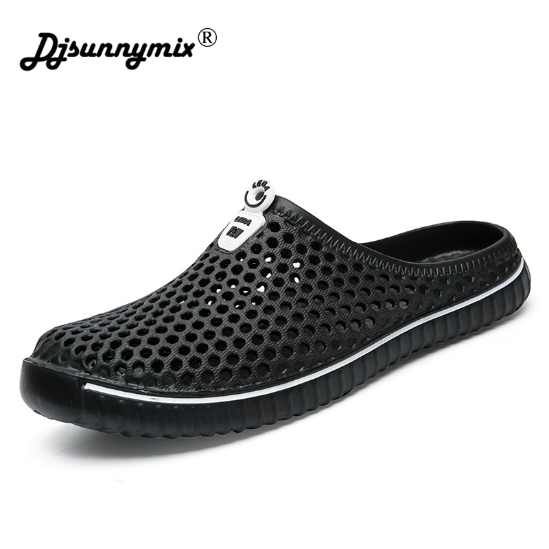DJSUNNYMIX 2018 Summer Slippers Men Hollow Out Breathable Beach Flip Flops Unisex Casual Slip-on Flats Sandals Men Shoes size 45 кабель interstep usb – microusb is dc mcusbin1m 000b201 black