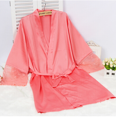 CINOLE Mid-sleeve sexy women nightwear robes plus size M L XL XXL lace real  silk 3e246f8d6