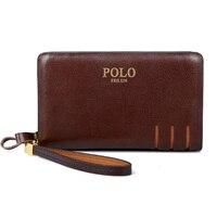 2017 New Fashion Men Wallets Casual Wallet Men Purse Clutch Bag POLO Genuine Leather Long Wallet