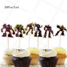 robot birthday cake topper bumblebee optimus prime robot party supplies kids children birthday decoration cupcake toppers цена 2017