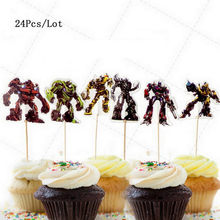 robot birthday cake topper bumblebee optimus prime robot party supplies kids children birthday decoration cupcake toppers(China)