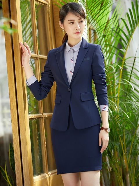 New Style Office Uniform Designs Women Skirt Suits Blazer and Jacket Sets  Navy Blue Formal Ladies f66ab6bd54
