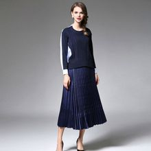 2016 Autumn Women's Suits In New Knitting Patchwork Jacket + Pleated Dress Suit Two Piece Set Costumes for Women with A Skirt