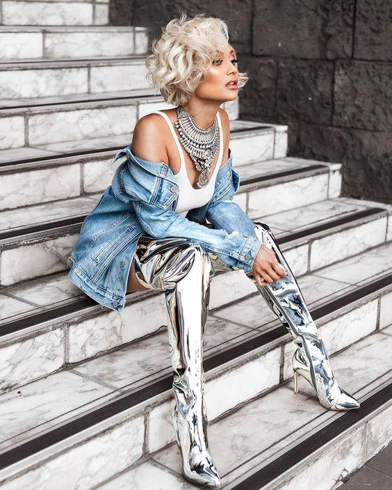 Élégant Métallique Show Talons Pour as Femmes Chaussures En As Bout Show Cuir Bottes Grand Cuissardes Pantalon Haute Pointu Verni Dames rBwngIqB