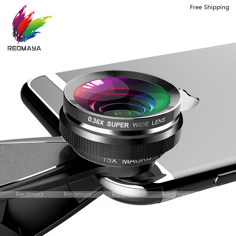 3 in 1 Phone Lens Fisheye Camera Mobile Phone Lenses 0.36X Wide Angle Universal Clip 15X Macro Lens For iPhone 6 For Samsung S8