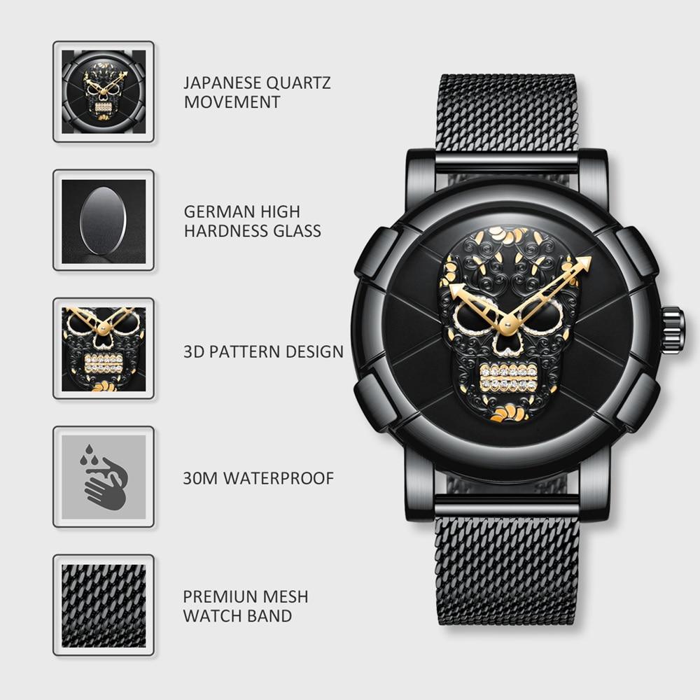 3D Skull Black Stainless Steel Gold Rhinestone Wristwatch 2