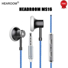 HEADROOM MS16 Earphone with Mic Sports Running Music HIFI Headset Women Man Earplugs Stereo Bass for iPhone 7 Android MP3 Player