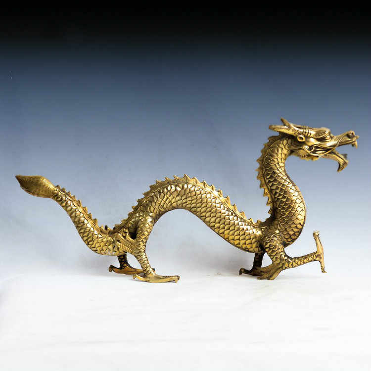 Copper dragon statue ,Feng Shui, Home Furnishing, decorations, chinese dragon figurine, Sculpture, crafts, about 31cm length