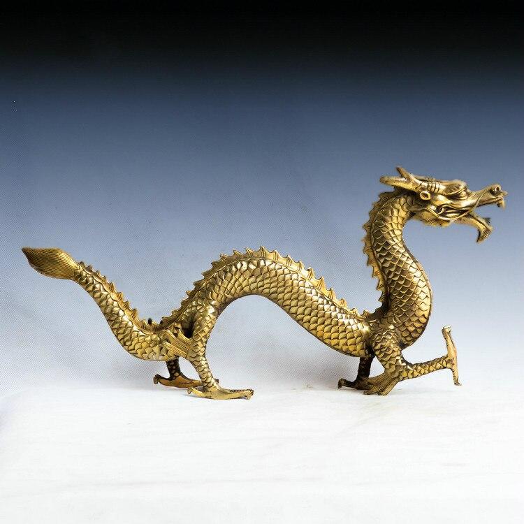 Statue de dragon en cuivre, Feng Shui, ameublement, décorations, figurine de dragon chinois, Sculpture, artisanat, environ 31 cm de longueur