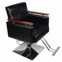 Shellhard Adjustable Wood Barber Chair Beauty Salon Chairs Salon Beauty Spa Shampoo Styling Tool Black