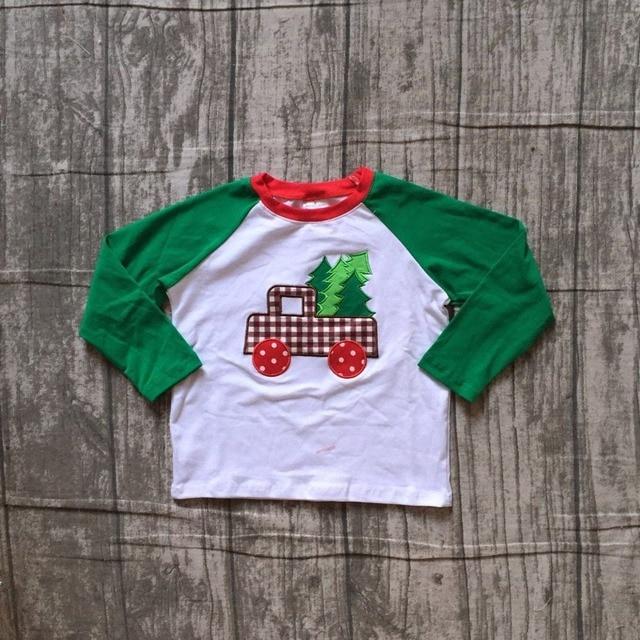 8b354c114afa baby boys cotton raglans boys Christmas top tee raglans boys truck applique  top Santa green long sleeve raglans Christmas raglan
