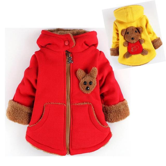 Crianças Urso dos desenhos animados Meninos e Meninas Outwear Inverno Hoodies Grossas de Algodão Infantil Do Bebê Suéter de Cashmere Zip 1-2-3--4-5-6 Anos de Idade