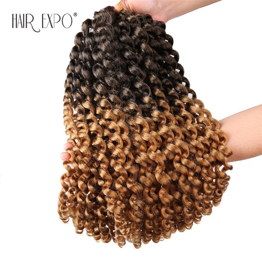 14 polegadas jumpy wand curl crochê extensões de cabelo jamaicano salto sintético africano omber trança cabelo 20 fios/pacote cabelo expo cidade