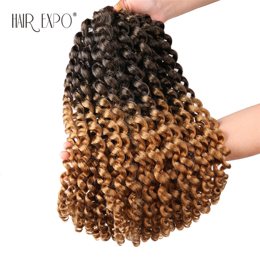 14inch Jumpy Wand Curl Crochet Hair Extensions Jamaican African Synthetic Omber Braiding Hair 20strands/Pack Hair Expo Ci