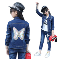 Clothes Girl 2018 10 11 13 9 7 5 3 Years Kids Jacket + Jeans Children Clothing Denim Suit Floral Girl Clothes Set Spring Clothes