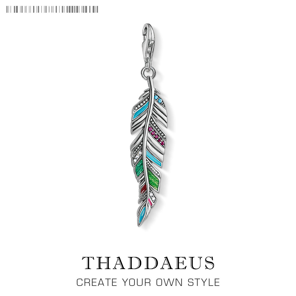 925 Sterling Silver Colorful Feather Pendant Charm 2019 Summer Fashion Jewelry Gift Fit Bracelet For Women Men Fashion Jewelry