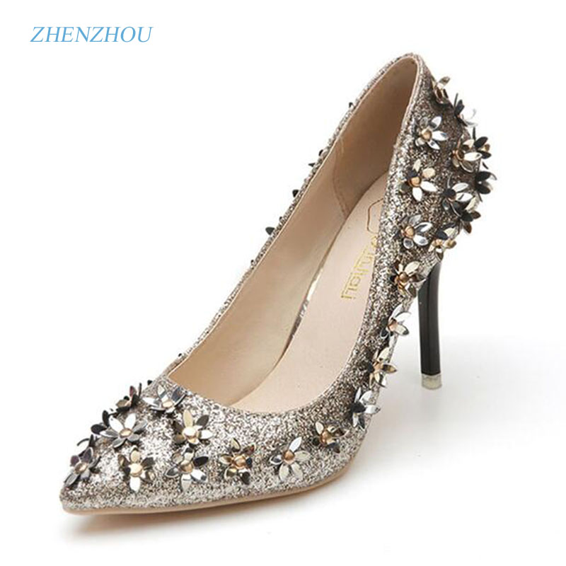 2017 autumn paragraph shallow mouth pointed high heels shoes small flower sequins rivets fine with a single shoe female shoe купить