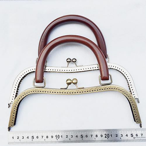 26cm big size metal purse frame clasp with wood handle DIY girl women handbag accessories 2pcs/lot colorful pu leather strap for bag accessories handle with metal clasp for diy purse 10pcs lot