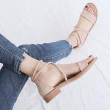2018 summer new Korean version Rome Grind Fine belt Buckle Packs and heels womens sandals  big shoes women