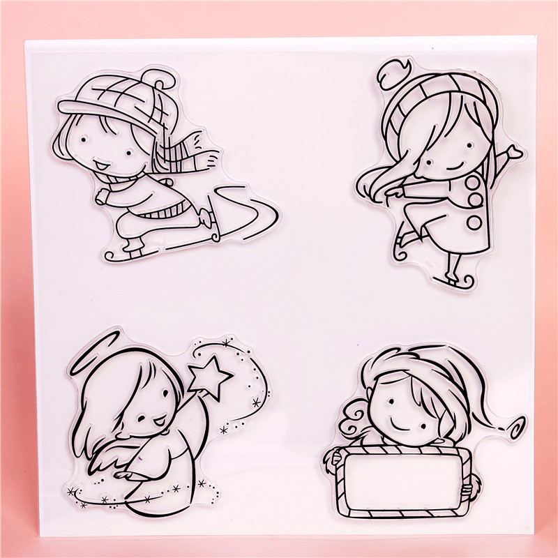 Angel/Cute Girl Transparent Clear Stamps for DIY Scrapbooking/Card Making/Kids Christmas Fun Decoration Supplies