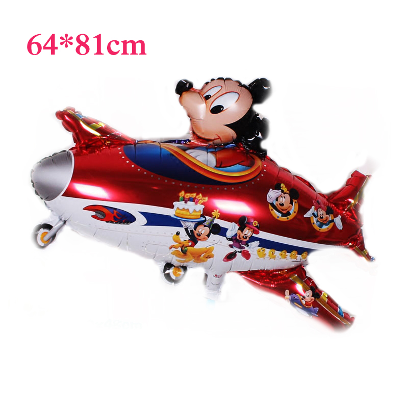 2pcs 81*64cm Happy Birthday balloons mickey mouse Planes balloons for Holiday Decoration Cartoons mickey Foil Ballon