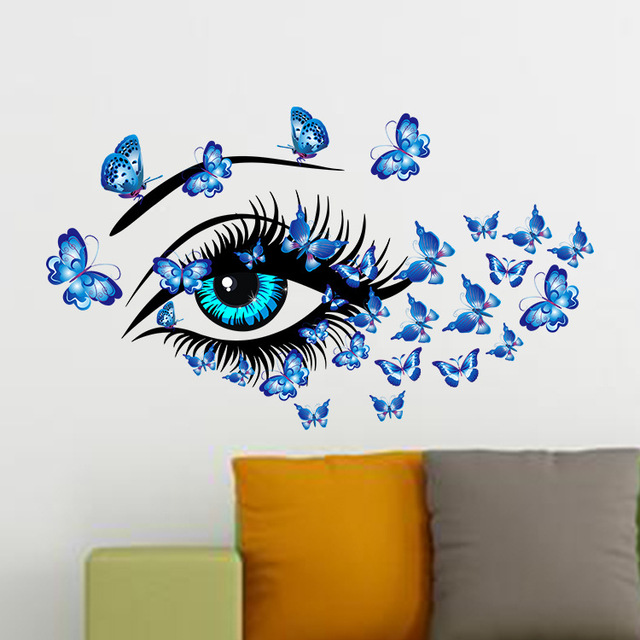 butterflies women's eyes mural art home decor blue eye wall stickers