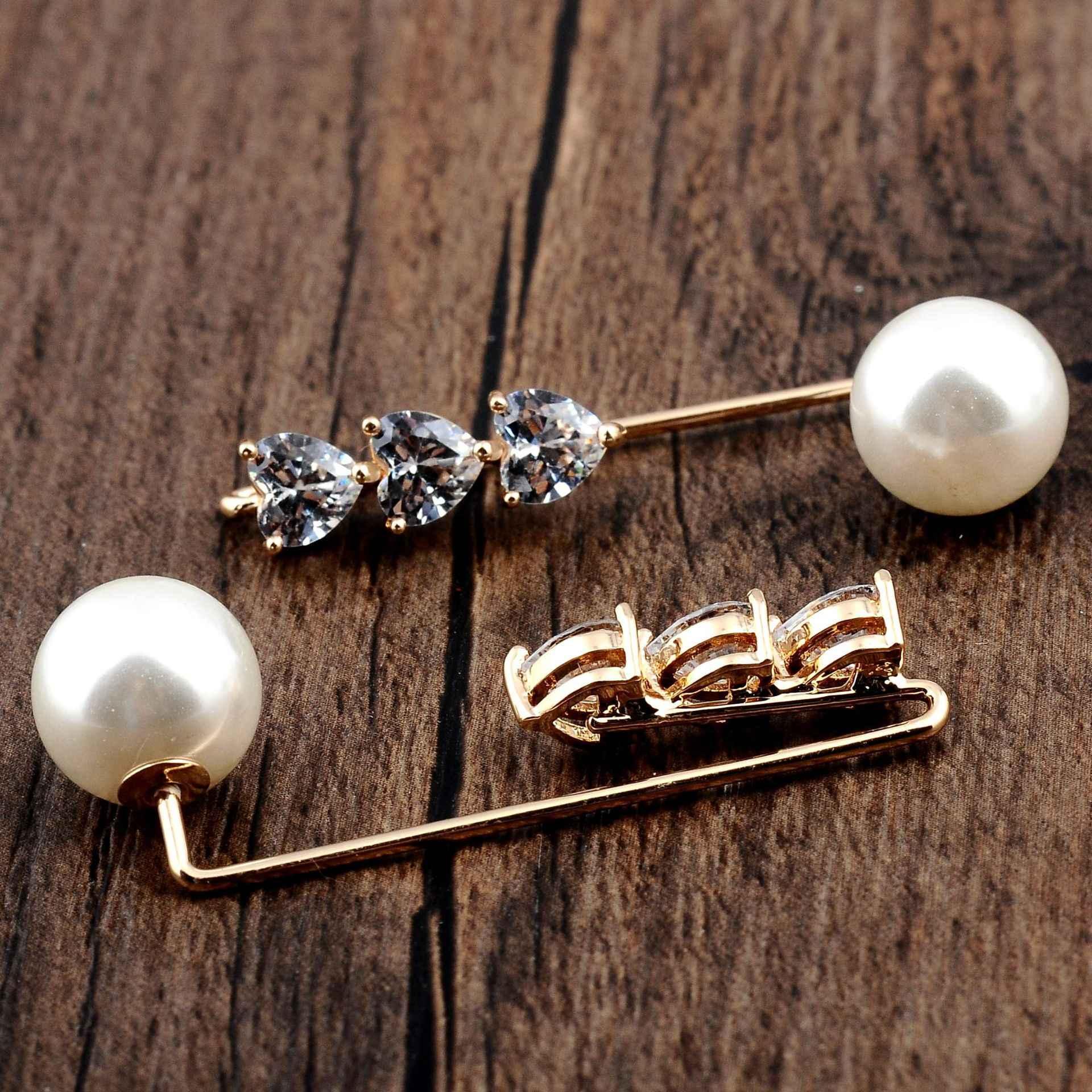 Tetap Gaun Pakaian Non-Slip Zircon Jantung Mutiara Bros Syal Selendang Gesper Cardigan Klip Bros Kerah Pin Wanita perhiasan