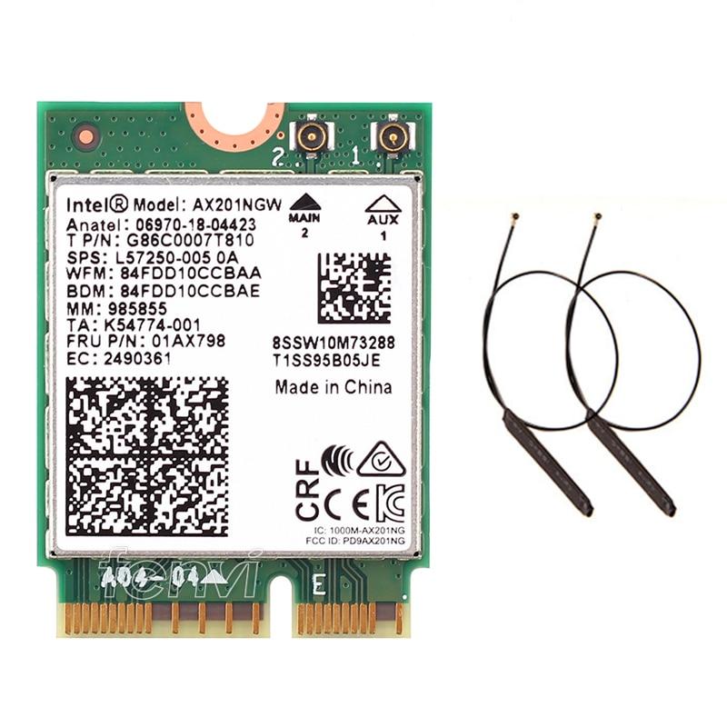 Sans fil double bande 2.4 Gbps Intel Wi-Fi 6 AX201NGW 802.11ax MU-MIMO Bluetooth 5.0 Wifi AX201 NGFF M.2 CNVI carte Wlan + 2x antenne