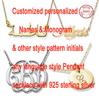 New Popular 925 Sterling Silver Name Necklace Gift Personalized Gold Silver Plating Customized Your Nameplate Necklace