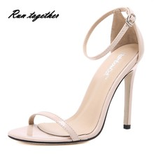 New summer fashion women high heels sandals shoes woman party wedding ladies pumps ankle strap buckle PU leather OL buckle shoes