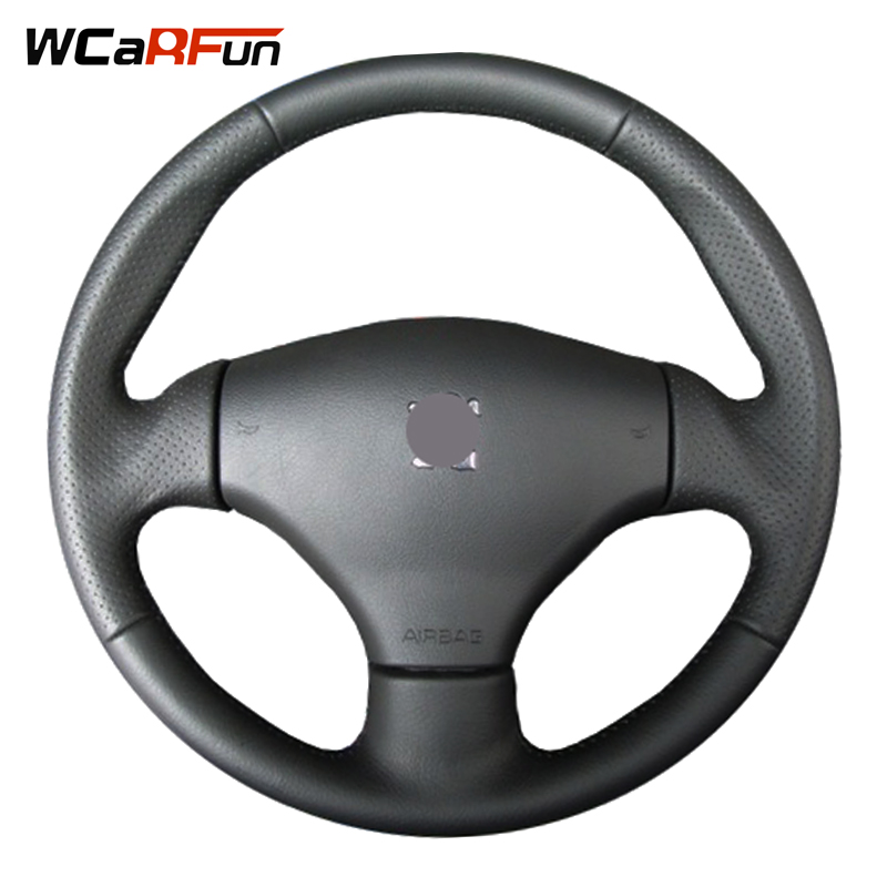 WCaRFun Customized Name Hand stitched Black Artificial Leather Car Steering Wheel Cover for Peugeot 206CC 2005 206 2003 diameter 38cm carbon fiber car steering wheel cover for peugeot 206 2003 206 cc 2005 car styling