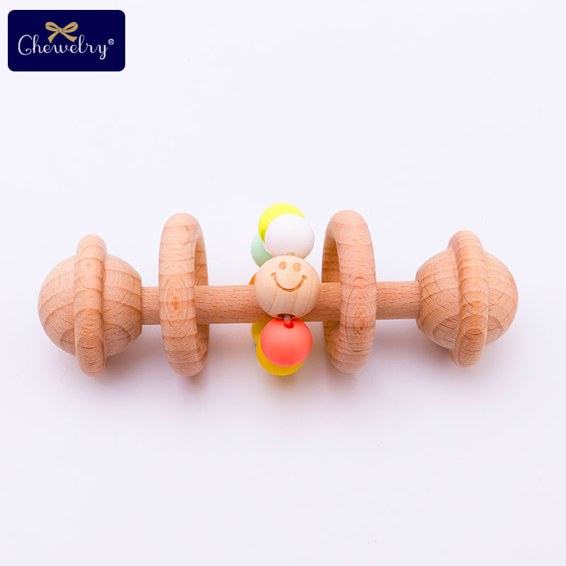 Wooden Teether Bells Wooden Rattles Baby Toys Wooden Ring Smile Beads Soothe Baby Nursing Silicone Bead Montessori Kid Goods Toy