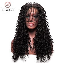 Kinky Curly Synthetic Lace Front Wig with Baby Hair for Black Women Heat Resistant Fiber Wigs with Natural Hairline Afro Wigs