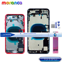For IPhone 8 8g 8Plus Plus Back Full Housing Battery Rear Door Cover Middle Frame Chassis with Glass + Flex Cable Parts Assembly