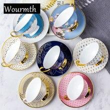 Wourmth костяной фарфор для послеобеденного чая, Набор чашек и блюдца, керамическая кофейная чашка с блюдцем, нержавеющая ложка, 220 мл, домашняя посуда для напитков