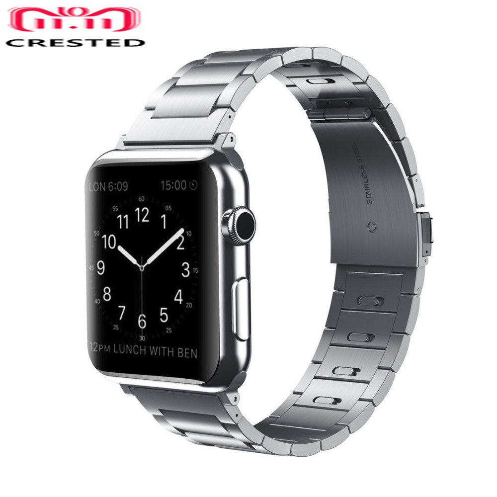 CRESTED Stainless steel strap For Apple Watch band 4 44mm/40mm iwatch series 3/2/1 42mm/38mm link bracelet wrist Removable belt crested stainless steel strap for apple watch band 42mm 38mm iwatch series 3 2 1 link bracelet wrist bands watch straps belt