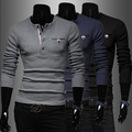 2015 new Han edition male money Different color placket splicing men's cultivate one's morality leisure knit,M-XXL