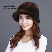 Yiyiyunshu вся кожа реального норки Мех животных шляпы для Для женщин зимние модные теплые натуральной Мех животных шапочки Шапки девочек женский