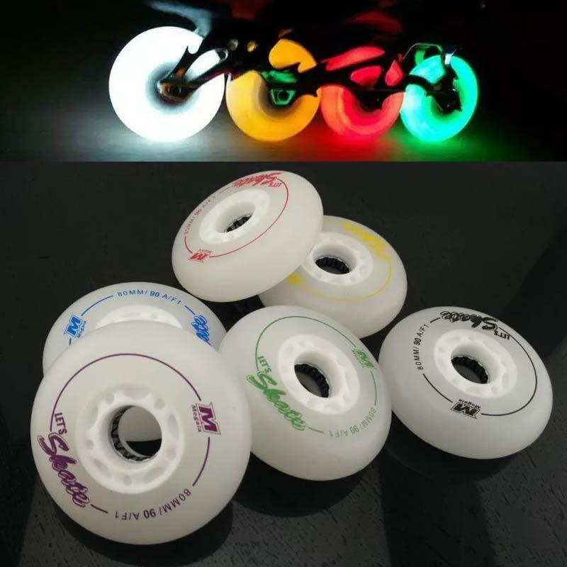 Prix pour F1 Led Éclairage De Patinage Roues 90A Flash Rouleau Roues Coulissantes Skate roues 72 76 80 8 PCS/ENSEMBLE Slalom SEBA Patines Glisser Pneus