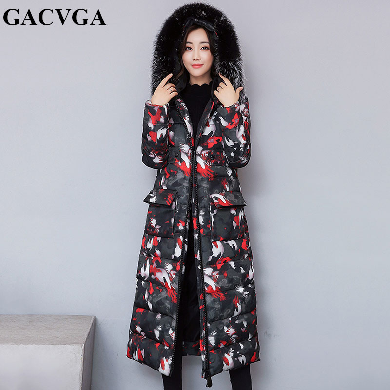 GACVGA 2019 Casual Hooded Jacket Coat Winter Long Jacket Plus Size Women Fur Collar   Parkas   Female Slim Spring Warm Coat