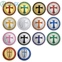 Mix14pcs/lot wholesale metal craft Europe knights templar cross set of 14 silver/gold plated coins Free Shipping