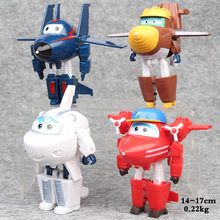 New 4pcs/lot Super Wings 3 Big Planes Model Transformation robot Deformation Airplane toys for kids christmas gifts 14-17cm